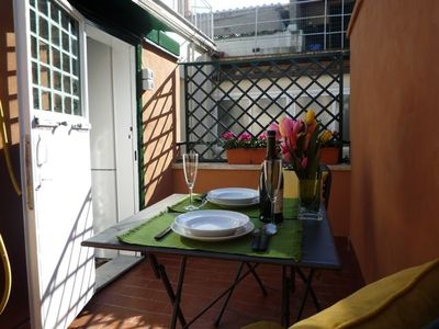 Terrace off the kitchen will be your outdoor dining room during balmy weather