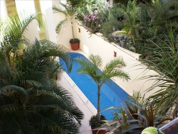 Looking down from the balcony to our mosaic tiled pool in our tropical garden
