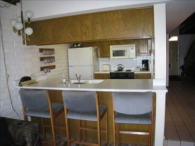 Kitchen and counter area.