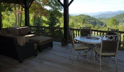 Screened in porch with south facing views of the Smoky Mountains.