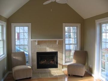 Family room built in 2007, gas fireplace with lots of natural light