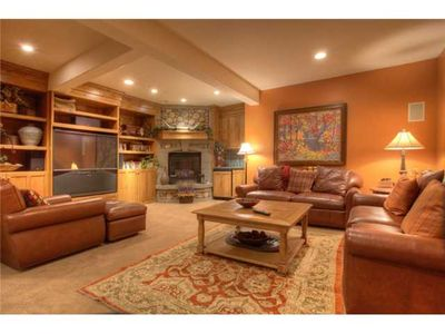 Downstairs Living Room Fireplace, Large TV, Mini Fridge/Wet Bar, QN Sleeper Sofa