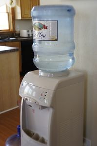 New water cooler with free five gallons of water for each visitor