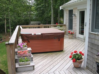 Gorgeous deck with private hot tub.