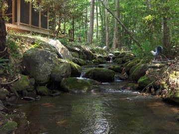 Huge boulders line the creek