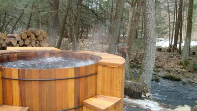 Jump from new cedar hot tub to creek and back to tub again!!