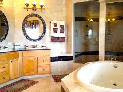Master bath with Jacuzzi tub and enormous shower