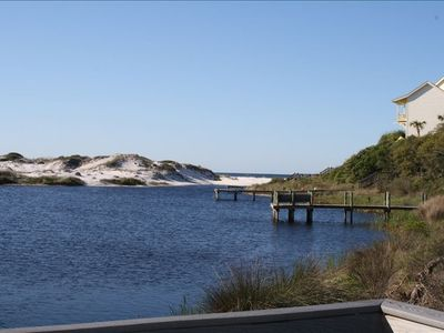 View from Draper Lake dock - with the Gulf visible just beyond the dunes.