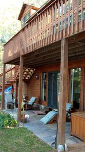 lake-side porch and deck.