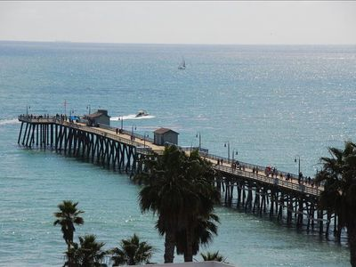 San Clemente condo rental - Commanding view of historic San Clemente pier from living room window