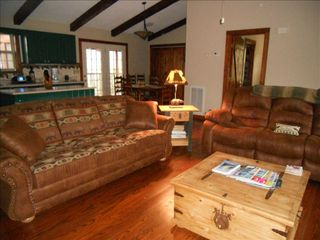Townsend cabin photo - Oh, how relaxing! Reclining couch and queen sized sleeper in the great room.
