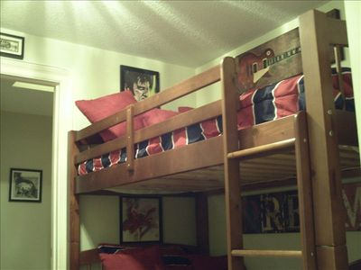 Bunk room with a rock and roll theme