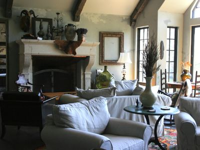 Highlands chalet rental - Massive 18th Century French Limestone Fireplace.