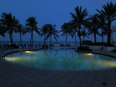 Romantic View of the Hotel Pool area at Night