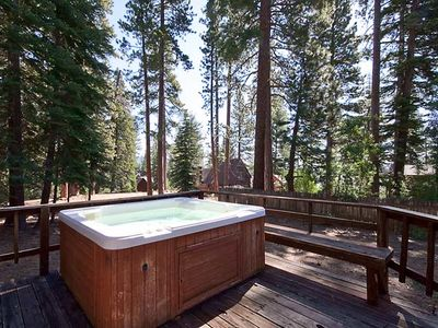 hot tub with filtered lake view
