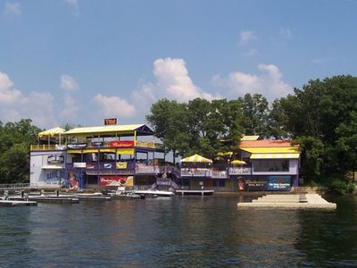 Go by boat or car. One of the many lakefront restaurants!!!