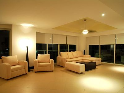 Evening View of Spacious Living Room