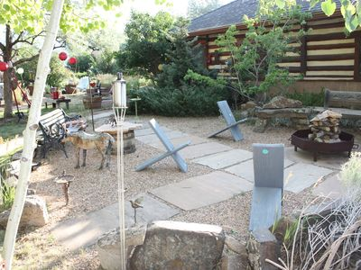 The Japanese Rock Garden and Brazier for outside fire on the way to the hot tub
