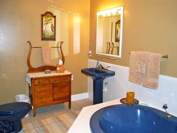 Master bath is large & well lighted--jetted tub