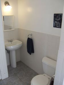 Large Bathroom: Tub/shower; window overlooking Garden...