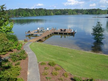Lake Martin house rental - View of our pier from the upper deck off the Master Bedroom