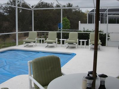 Aldea Reserve house rental - West facing pool deck looking at conservation area, very private.