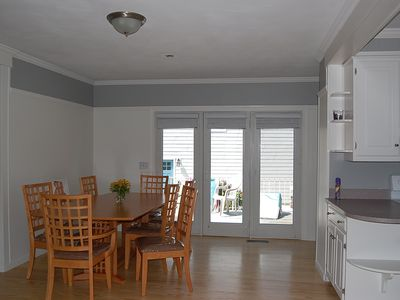 large dining room table in eat- in kitchen