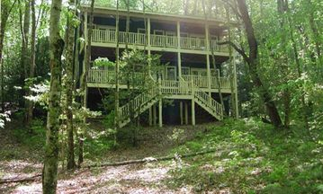Lake Nantahala cabin rental - Cabin facing lake with 2 covered porches