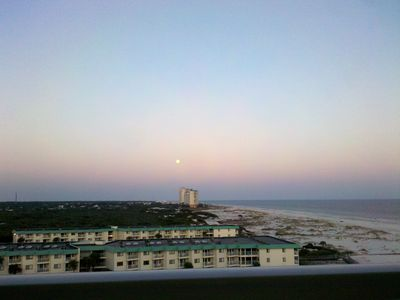 View of The Beach Club and Fort Morgan Island w/ Gulf Shores in the distance.