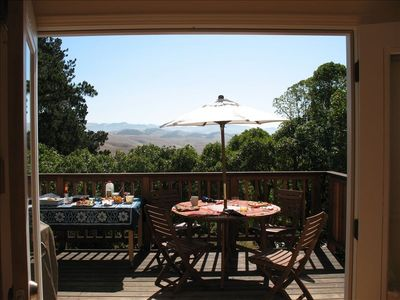 Spacious Deck area with views to the hills & valley surrounding Cambria.