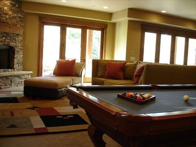 View of the game room with pool table.