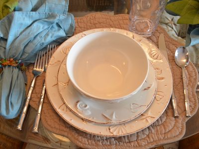 For dining in...New dinnerware, flatware and glasses
