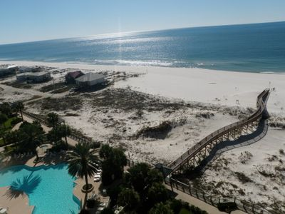 View of beach and Avalon pool from our balcony