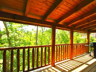 Pigeon Forge cabin photo - Back deck with gas grill - view to right