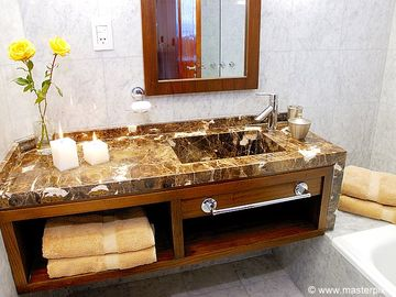 Gorgeous Italian marble countertops custom made for this bathroom