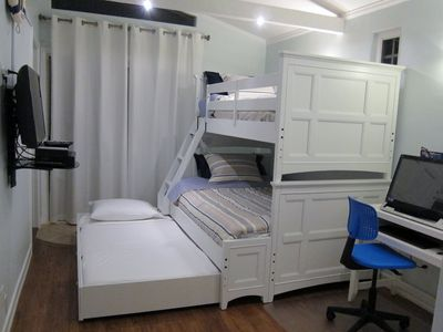 bunk beds - twin, full and twin trundle w/ desk and computer