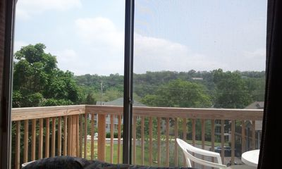 View of the deck from the sofa.
