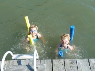 Damariscotta cottage photo - Swimming off the float
