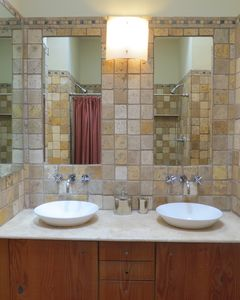 Double sinks and double shower heads in master bath