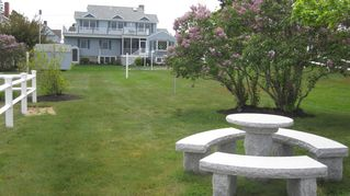 Moody Beach house photo - Back Lawn of VillaNova - Relax and View the Ocean Under the Shade Trees
