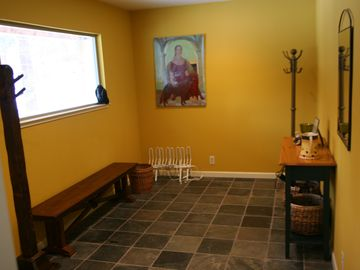 our beautiful and spacious mudroom: we leave our shoes and outdoor jackets there