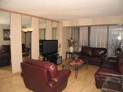 Living Room is large and accomodating. Enjoy having dinner here or going out!