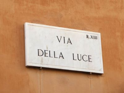 street sign, because of via della Luce, district Trastevere