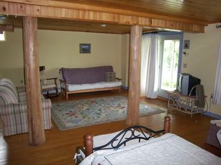Trenton cabin photo - Daylight basement lounge area: French doors lead out into the meadow.