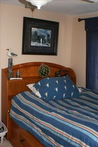 kids nautical room w/ flat screen wall mount TV