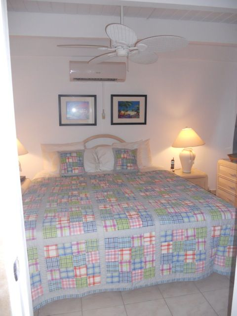 Garden bedroom with king sized bed and private full bath, LCD TV