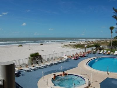 Indian Shores condo rental - View of pool and spa. Private spiral staircase leads you to the pool deck.