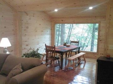 Cleveland cabin rental - View of the dining room overlooking the river
