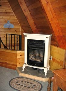 Propane fireplace in guest bedroom