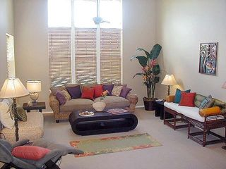 Living Room with 19' Ceilings - Waikoloa Beach Resort villa vacation rental photo